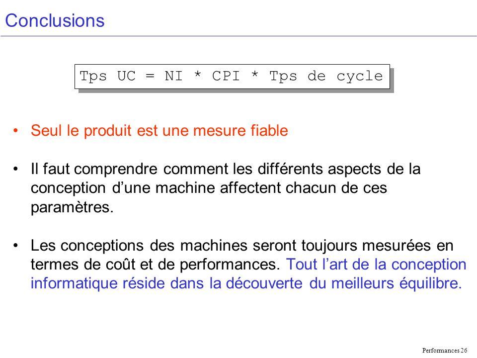 Performances 26 Conclusions Seul le produit est une mesure fiable Il faut comprendre comment les différents aspects de la conception dune machine affectent chacun de ces paramètres.
