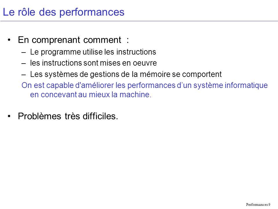 Performances 9 Le rôle des performances En comprenant comment : –Le programme utilise les instructions –les instructions sont mises en oeuvre –Les systèmes de gestions de la mémoire se comportent On est capable d améliorer les performances dun système informatique en concevant au mieux la machine.