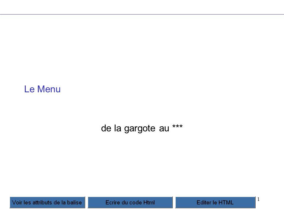 2 Un menu très simple de très bon rapport qualité prix div#links {position: absolute;} div#links a {display: block;} div#links a:hover {;} Home Links … plus d info : http://meyerweb.com/eric/css/edge/popups/demo.html