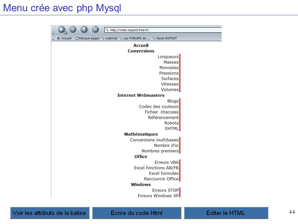 44 Menu crée avec php Mysql
