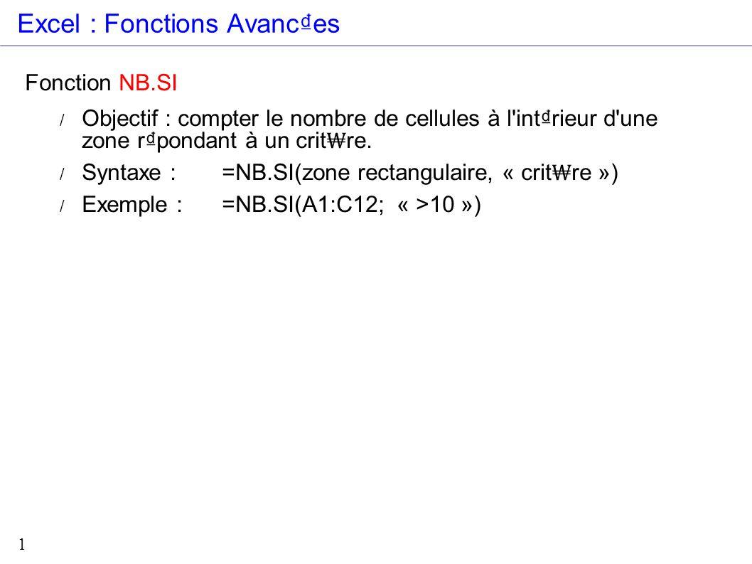 1 Excel : Fonctions Avances Fonction NB.SI / Objectif : compter le nombre de cellules à l'intrieur d'une zone rpondant à un crit re. / Syntaxe :=NB.SI