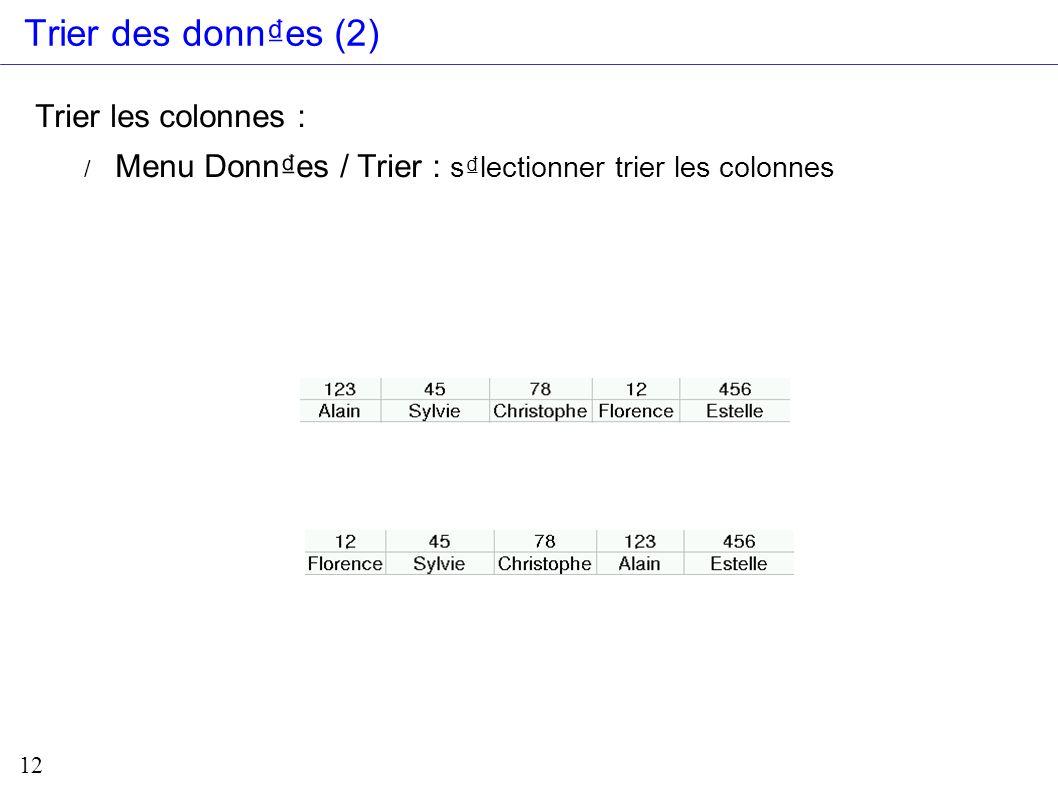 12 Trier des donnes (2) Trier les colonnes : / Menu Donnes / Trier : slectionner trier les colonnes
