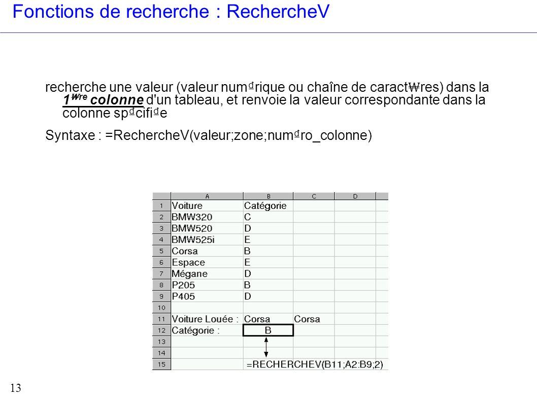 13 Fonctions de recherche : RechercheV recherche une valeur (valeur numrique ou chaîne de caract res) dans la 1 re colonne d'un tableau, et renvoie la