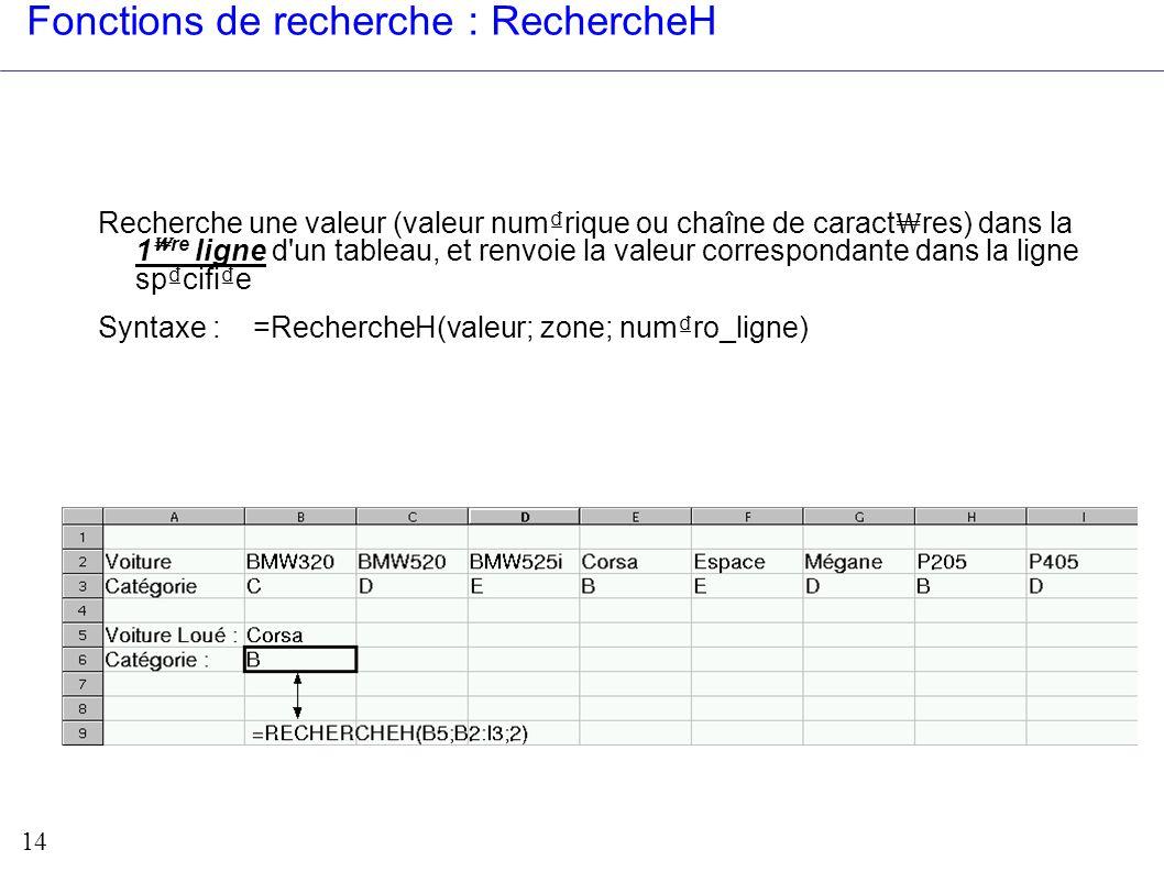 14 Fonctions de recherche : RechercheH Recherche une valeur (valeur numrique ou chaîne de caract res) dans la 1 re ligne d'un tableau, et renvoie la v