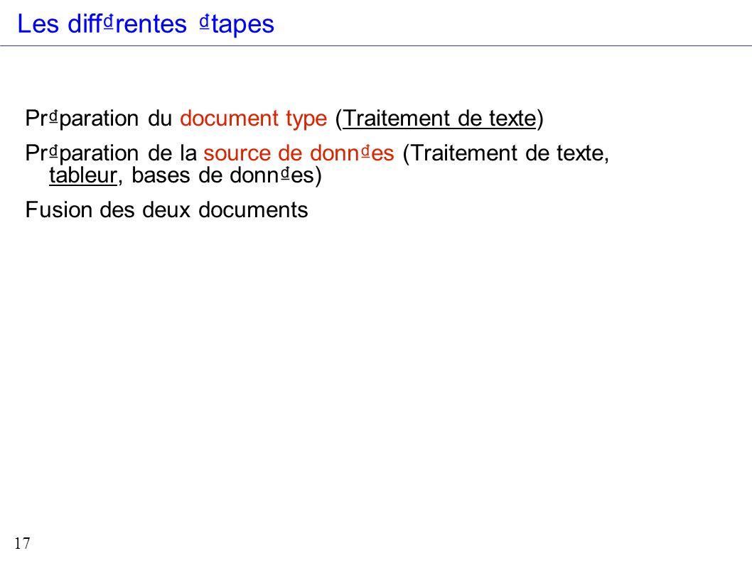 17 Prparation du document type (Traitement de texte) Prparation de la source de donnes (Traitement de texte, tableur, bases de donnes) Fusion des deux