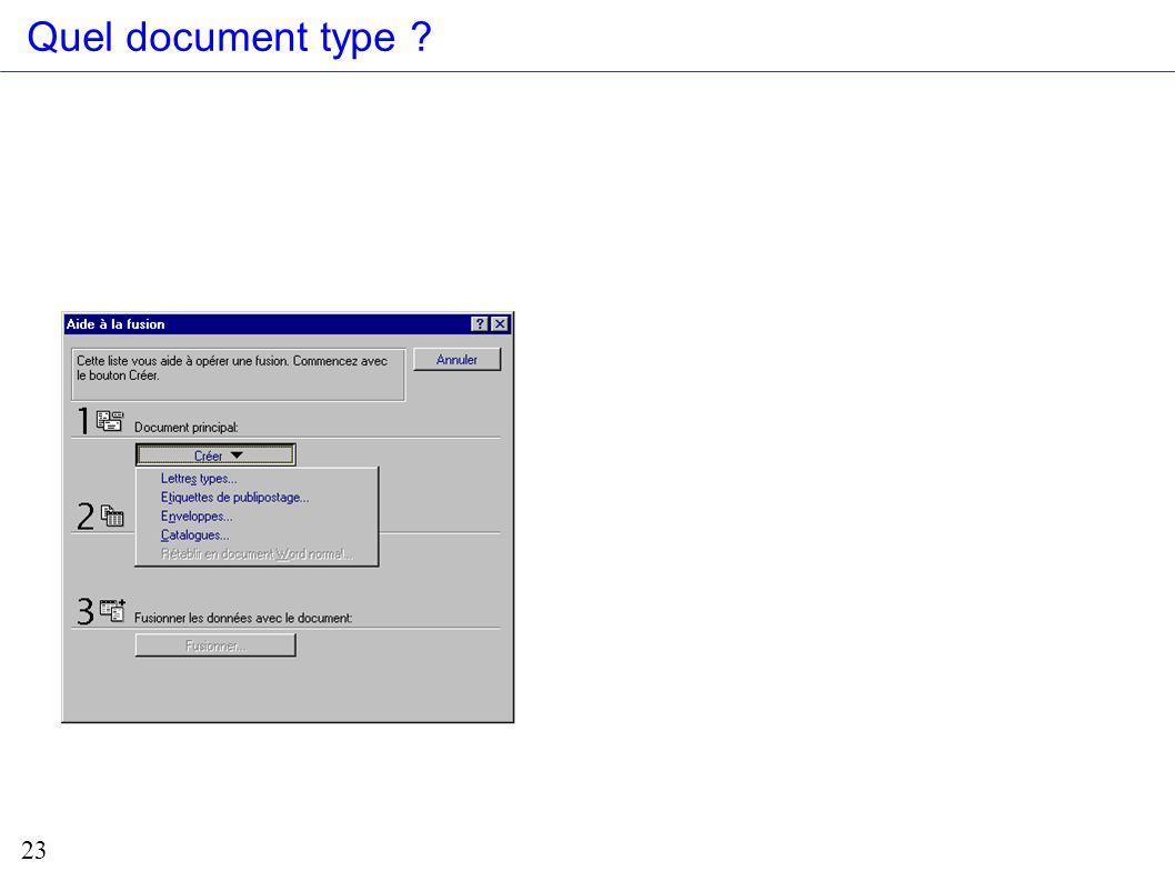 23 Quel document type ?