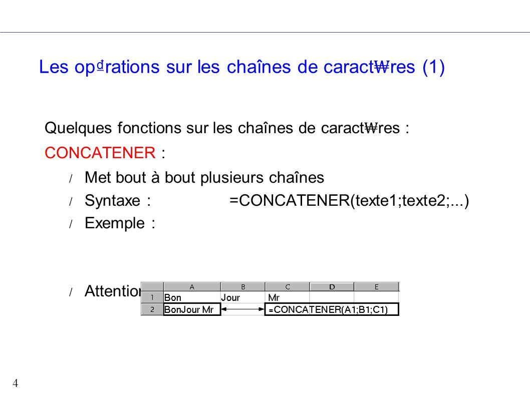 5 Les oprations sur les chaînes (2) Minuscule / Majuscule / Impose la casse d un texte / Syntaxe : =minuscule(Texte) / Exemple : NomPropre / Met en majuscule la 1 re lettre de chaque mot / Syntaxe : =nompropre(Texte) / Exemple :