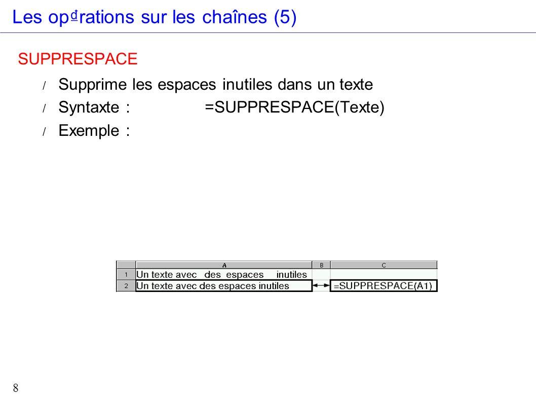 9 CNUM : Convertit une chaîne de caract res reprsentant un nombre en valeur numrique / Syntaxe : =CNUM(Texte) CTXT : Arrondit un nombre au nombre de dcimales spcifi et renvoie le rsultat sous forme de chaîne avec ou sans sparateur / Syntaxe : =CTXT(Valeur;nb_dcimales; 0 ou 1) Sans sparateur Avec sparateur