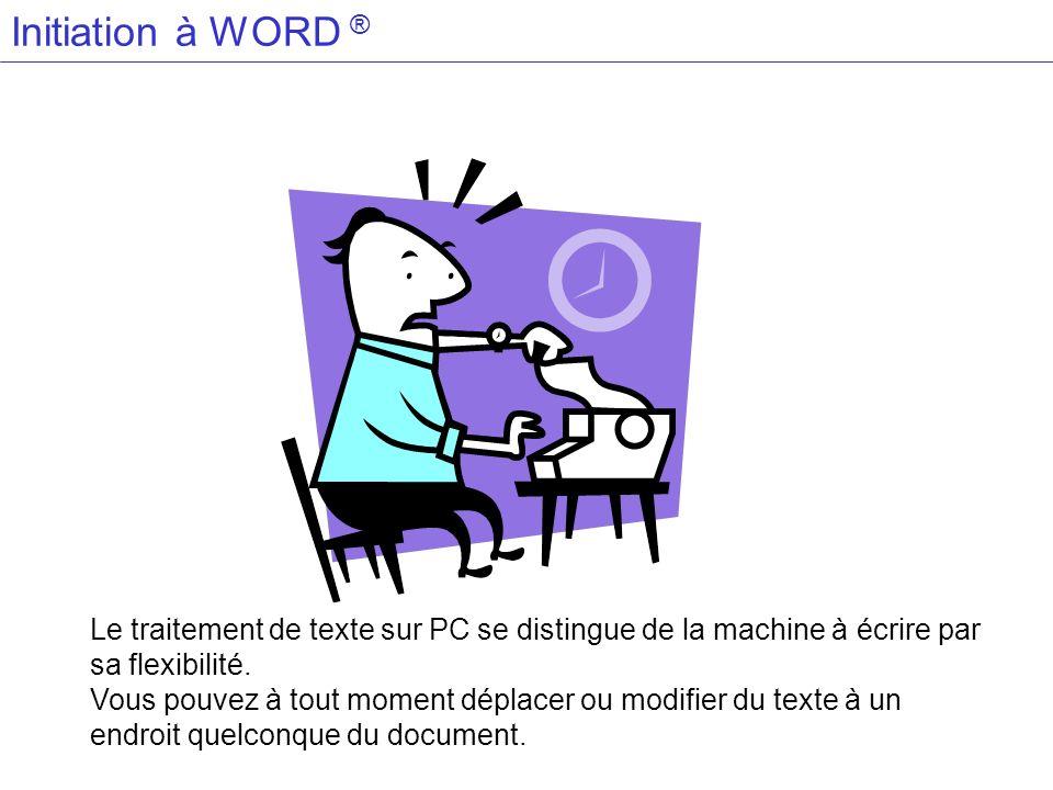 Initiation à WORD ® Le traitement de texte sur PC se distingue de la machine à écrire par sa flexibilité. Vous pouvez à tout moment déplacer ou modifi