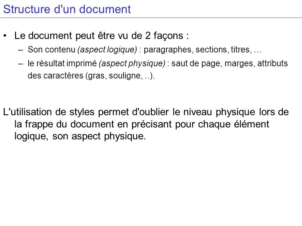 Structure d'un document Le document peut être vu de 2 façons : –Son contenu (aspect logique) : paragraphes, sections, titres, … –le résultat imprimé (