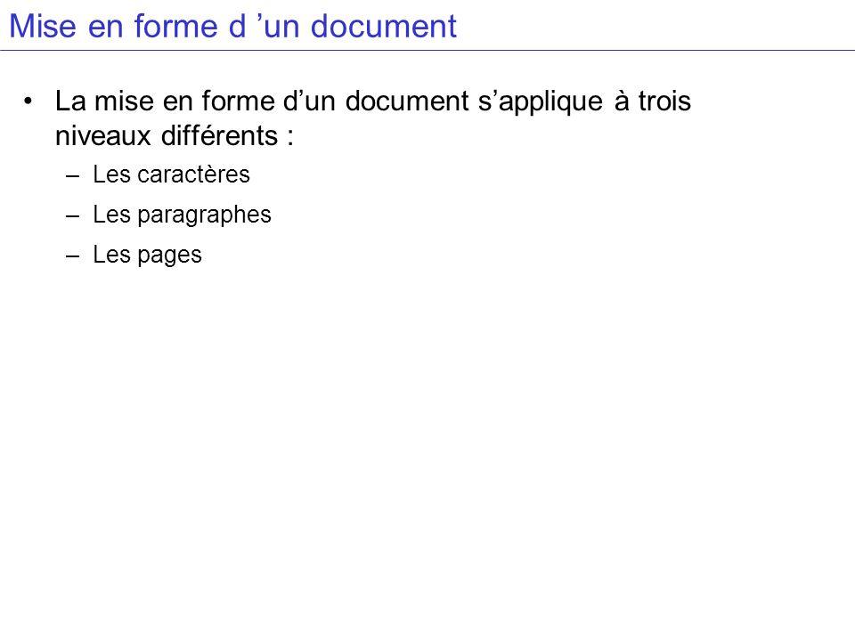 La mise en forme dun document sapplique à trois niveaux différents : –Les caractères –Les paragraphes –Les pages Mise en forme d un document