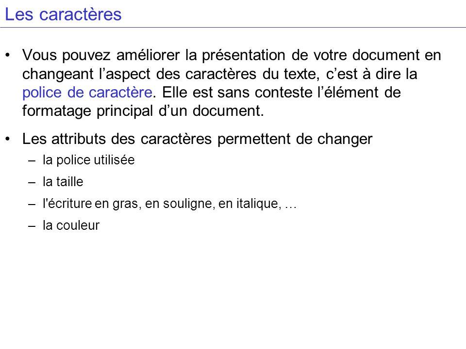Vous pouvez améliorer la présentation de votre document en changeant laspect des caractères du texte, cest à dire la police de caractère. Elle est san