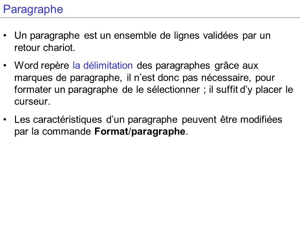 Paragraphe Un paragraphe est un ensemble de lignes validées par un retour chariot. Word repère la délimitation des paragraphes grâce aux marques de pa