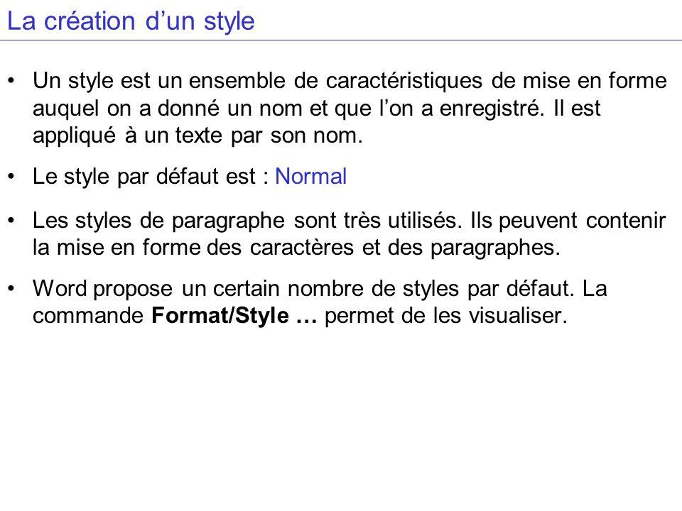 La création dun style Un style est un ensemble de caractéristiques de mise en forme auquel on a donné un nom et que lon a enregistré. Il est appliqué