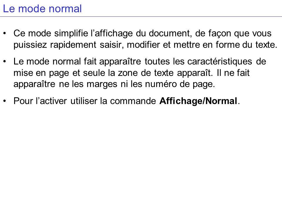 Le mode normal Ce mode simplifie laffichage du document, de façon que vous puissiez rapidement saisir, modifier et mettre en forme du texte. Le mode n