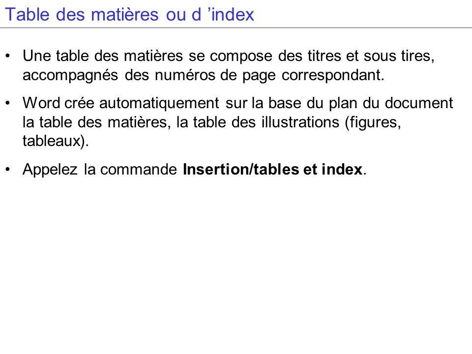 Table des matières ou d index Une table des matières se compose des titres et sous tires, accompagnés des numéros de page correspondant. Word crée aut