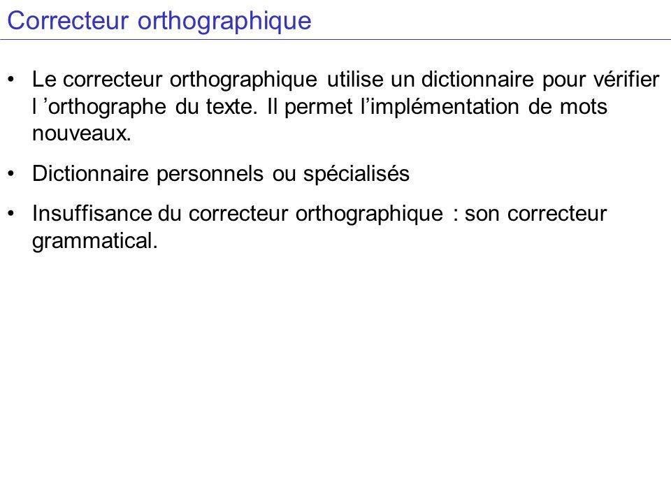 Correcteur orthographique Le correcteur orthographique utilise un dictionnaire pour vérifier l orthographe du texte. Il permet limplémentation de mots