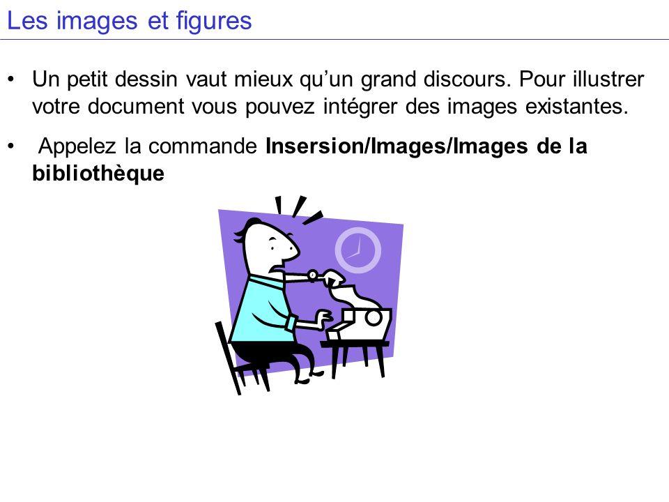 Les images et figures Un petit dessin vaut mieux quun grand discours. Pour illustrer votre document vous pouvez intégrer des images existantes. Appele