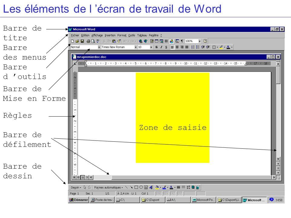 Les éléments de l écran de travail de Word Zone de saisie Barre de dessin Barre de défilement Règles Barre de Mise en Forme Barre d outils Barre des m