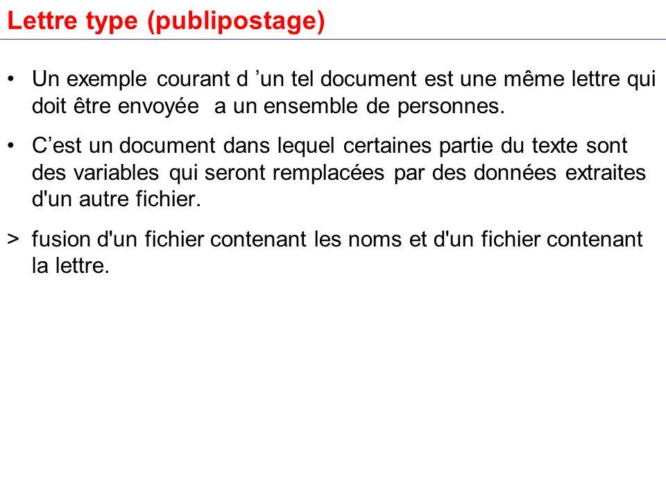 Lettre type (publipostage) Un exemple courant d un tel document est une même lettre qui doit être envoyée a un ensemble de personnes. Cest un document