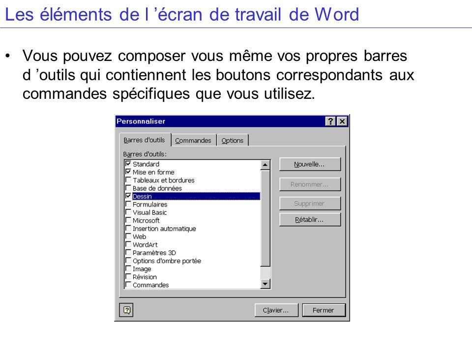 Les éléments de l écran de travail de Word Vous pouvez composer vous même vos propres barres d outils qui contiennent les boutons correspondants aux c