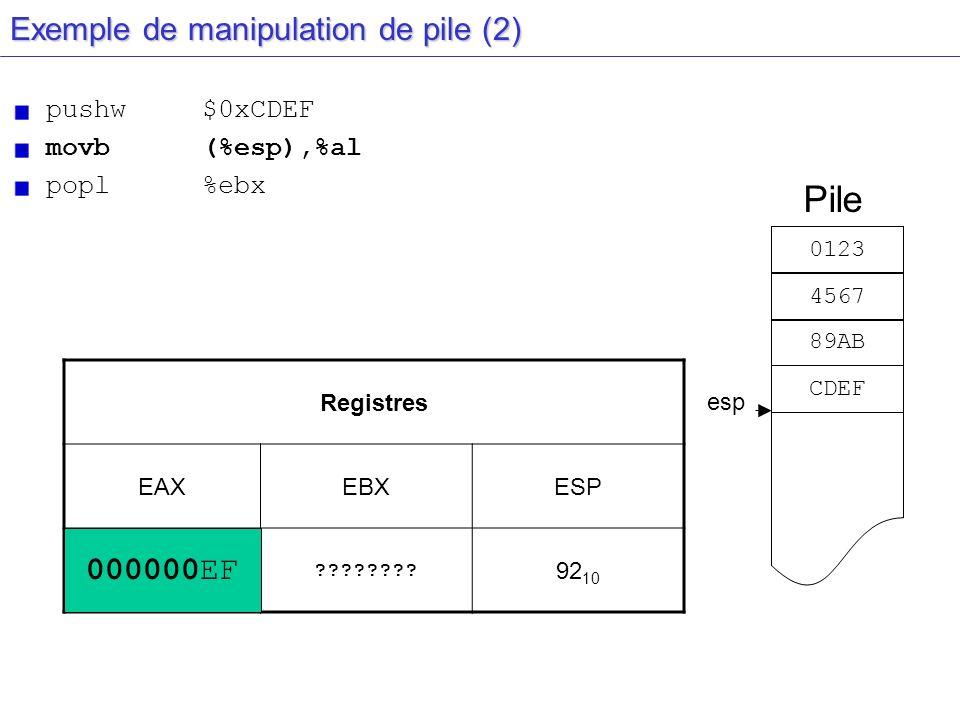 esp Exemple de manipulation de pile (2) pushw$0xCDEF movb(%esp),%al popl%ebx Registres EAXEBXESP 00000000???????? 92 10 Pile 0123 4567 89AB CDEF 00000
