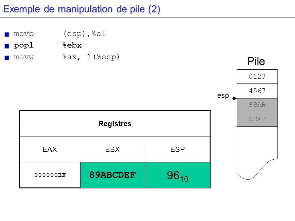 esp Exemple de manipulation de pile (2) movb(esp),%al popl%ebx movw%ax, 1(%esp) Registres EAXEBXESP 000000EF???????? 92 10 Pile esp 0123 4567 89AB 96