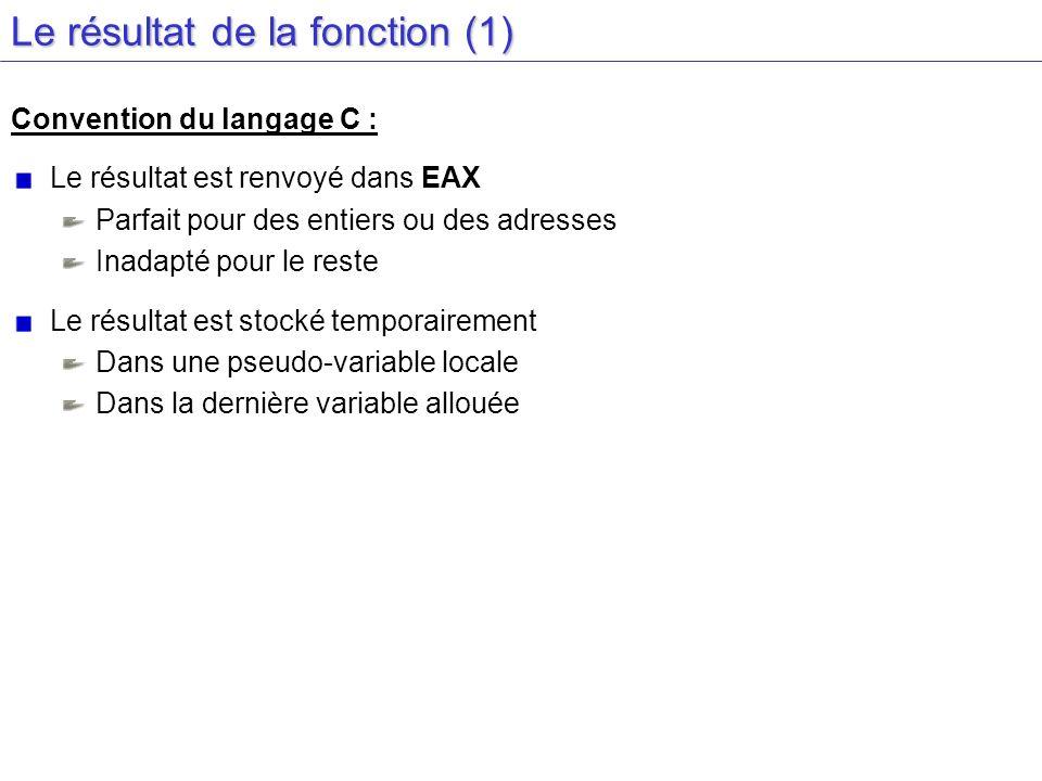 Le résultat de la fonction (1) Convention du langage C : Le résultat est renvoyé dans EAX Parfait pour des entiers ou des adresses Inadapté pour le re