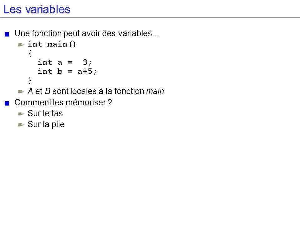 Les variables Une fonction peut avoir des variables… int main() { int a = 3; int b = a+5; } A et B sont locales à la fonction main Comment les mémoris