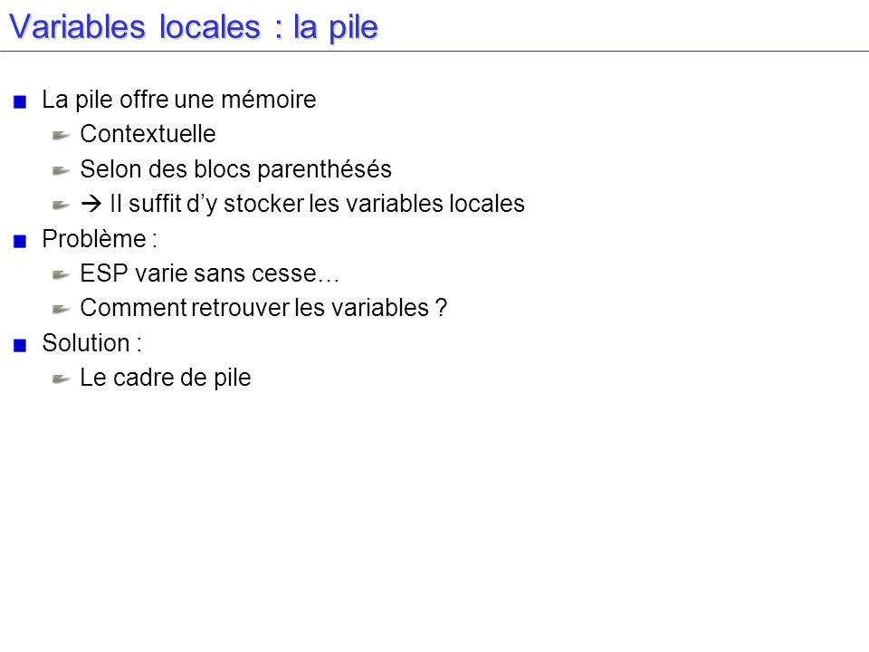 Variables locales : la pile La pile offre une mémoire Contextuelle Selon des blocs parenthésés Il suffit dy stocker les variables locales Problème : E