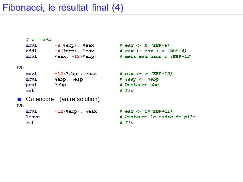 Fibonacci, le résultat final (4) # r = a+b movl-8(%ebp), %eax# eax <- b (EBP-8) addl-4(%ebp), %eax# eax <- eax + a (EBP-4) movl%eax, -12(%ebp)# mets e