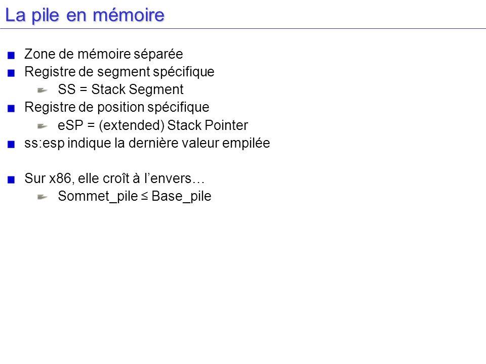 La pile en mémoire Zone de mémoire séparée Registre de segment spécifique SS = Stack Segment Registre de position spécifique eSP = (extended) Stack Po