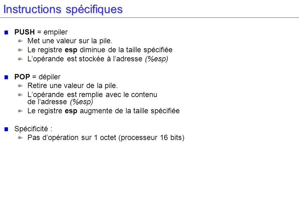 Instructions spécifiques PUSH = empiler Met une valeur sur la pile. Le registre esp diminue de la taille spécifiée Lopérande est stockée à ladresse (%
