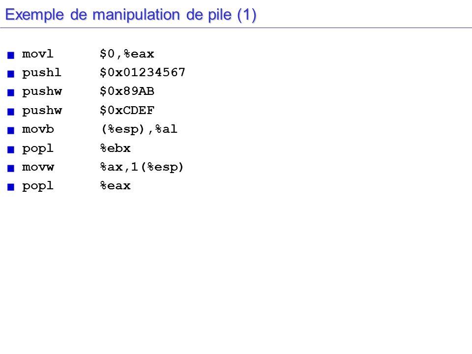 Exemple de manipulation de pile (1) movl$0,%eax pushl $0x01234567 pushw $0x89AB pushw$0xCDEF movb(%esp),%al popl%ebx movw%ax,1(%esp) popl%eax