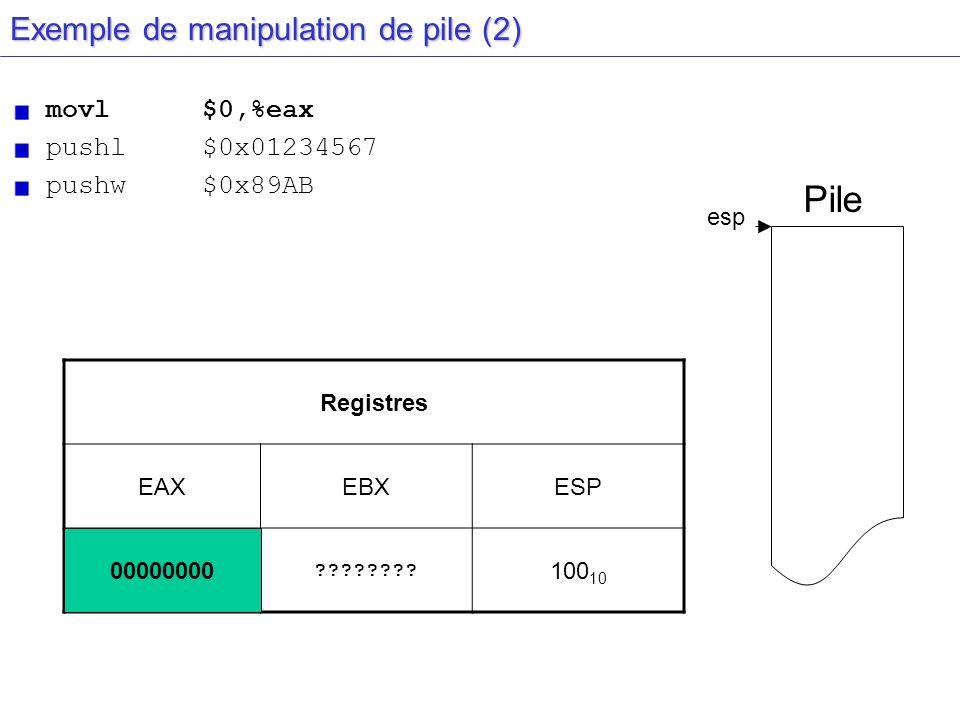 esp Exemple de manipulation de pile (2) movl$0,%eax pushl $0x01234567 pushw $0x89AB Registres EAXEBXESP ********???????? 100 10 Pile 00000000
