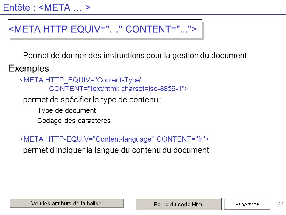 22 Entête : Permet de donner des instructions pour la gestion du document Exemples permet de spécifier le type de contenu : Type de document Codage des caractères permet dindiquer la langue du contenu du document