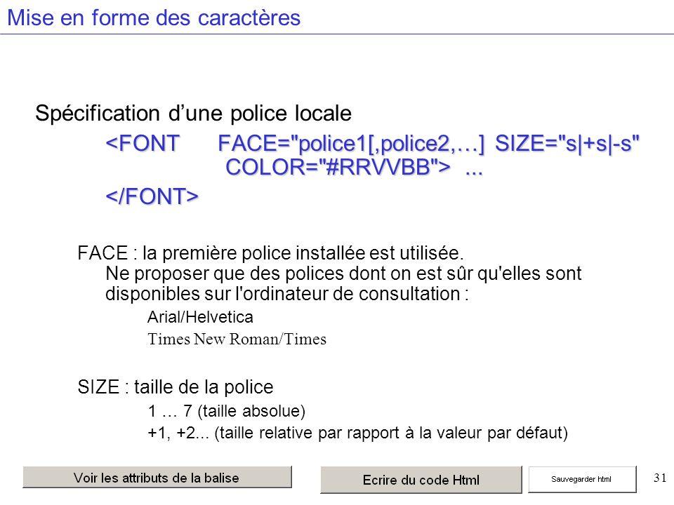 31 Mise en forme des caractères Spécification dune police locale......</FONT> FACE : la première police installée est utilisée.