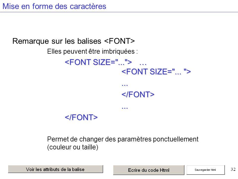 32 Mise en forme des caractères Remarque sur les balises Elles peuvent être imbriquées : … …...</FONT>...</FONT> Permet de changer des paramètres ponctuellement (couleur ou taille)