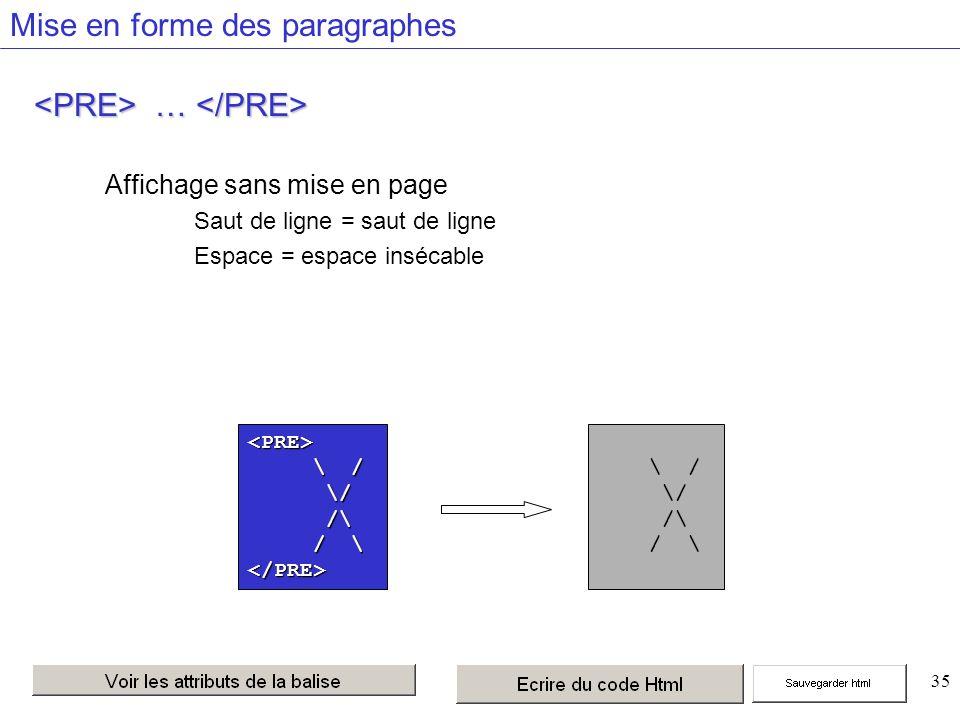 35 Mise en forme des paragraphes … … Affichage sans mise en page Saut de ligne = saut de ligne Espace = espace insécable <PRE> \ / \ / /\ /\ </PRE> \ / /\