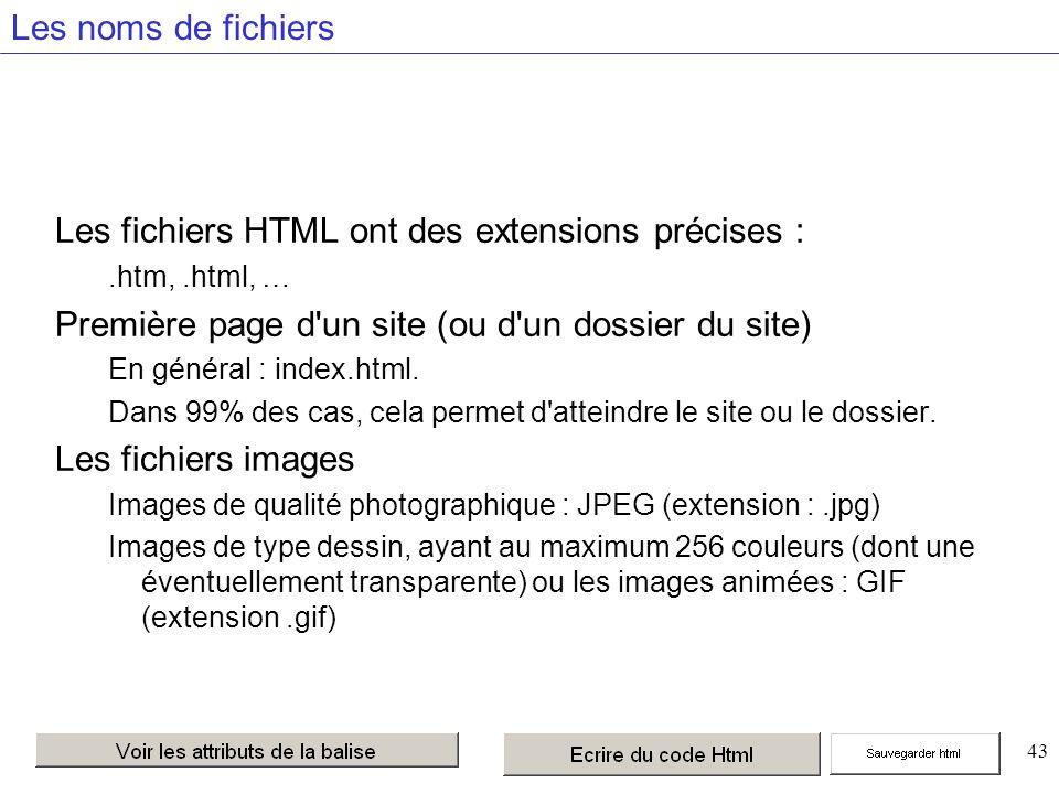 43 Les noms de fichiers Les fichiers HTML ont des extensions précises :.htm,.html, … Première page d un site (ou d un dossier du site) En général : index.html.