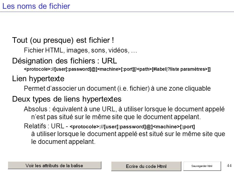 44 Les noms de fichier Tout (ou presque) est fichier .