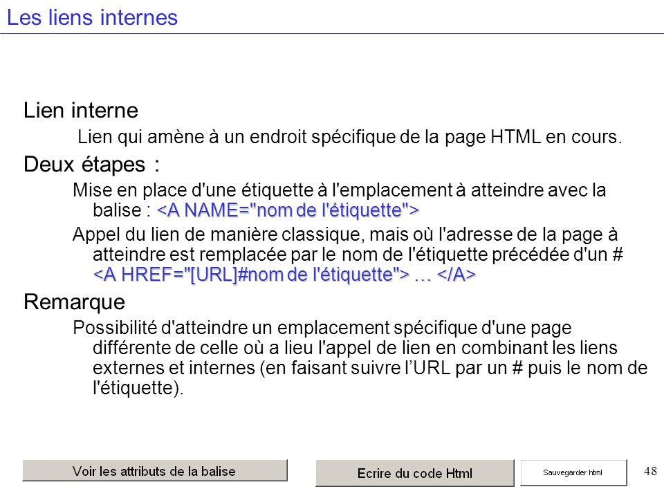 48 Les liens internes Lien interne Lien qui amène à un endroit spécifique de la page HTML en cours.