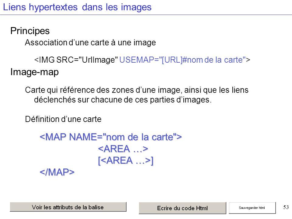53 Liens hypertextes dans les images Principes Association dune carte à une image Image-map Carte qui référence des zones dune image, ainsi que les liens déclenchés sur chacune de ces parties dimages.