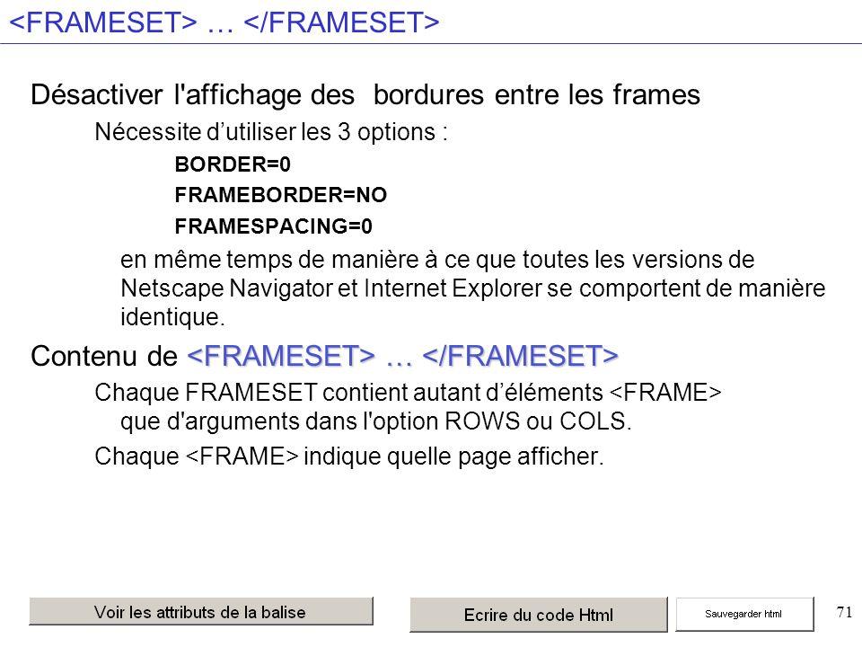 71 … Désactiver l affichage des bordures entre les frames Nécessite dutiliser les 3 options : BORDER=0 FRAMEBORDER=NO FRAMESPACING=0 en même temps de manière à ce que toutes les versions de Netscape Navigator et Internet Explorer se comportent de manière identique.