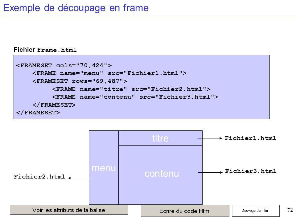 72 Exemple de découpage en frame menu titre Fichier3.html Fichier2.html Fichier frame.html Fichier1.html contenu