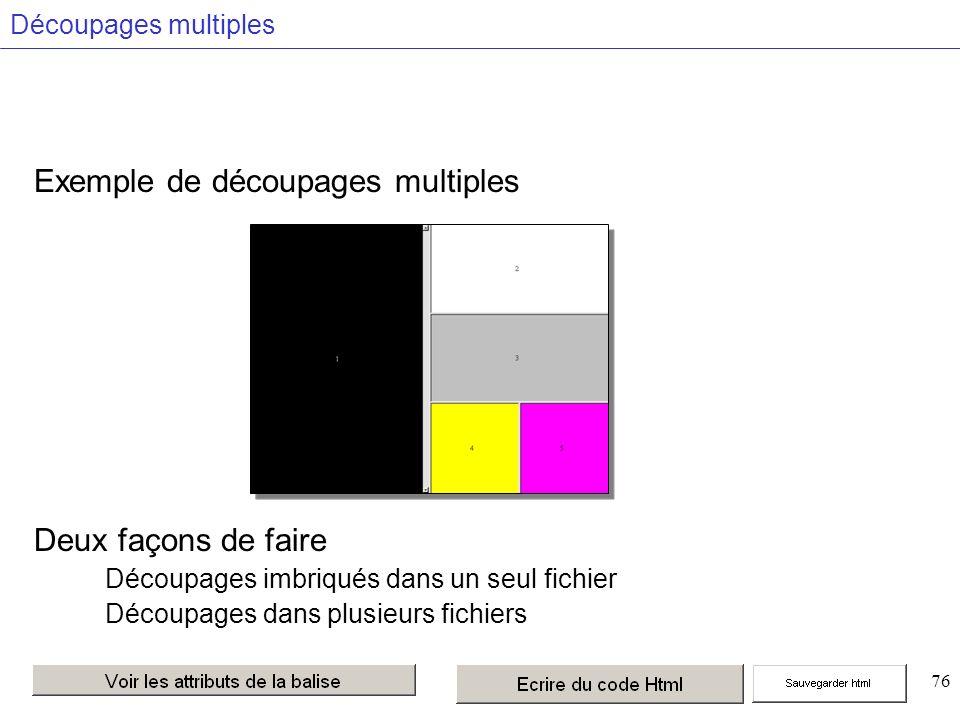 76 Découpages multiples Exemple de découpages multiples Deux façons de faire Découpages imbriqués dans un seul fichier Découpages dans plusieurs fichiers