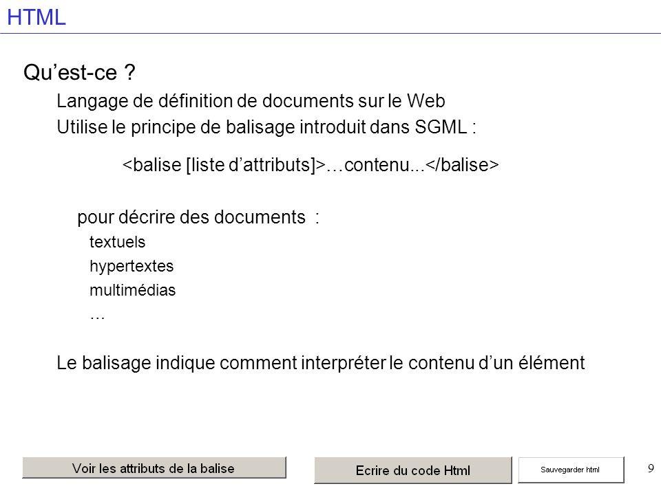 80 Définition dune fenêtre dans une page i=inline NAME= nom de la frame Identifiant de la fenêtre pour l utiliser dans les TARGET SRC= url URL de la page chargée dans la fenêtre