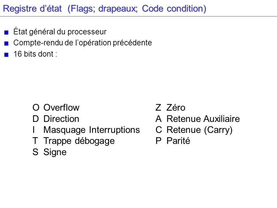 Registre détat (Flags; drapeaux; Code condition) État général du processeur Compte-rendu de lopération précédente 16 bits dont : OOverflow D Direction