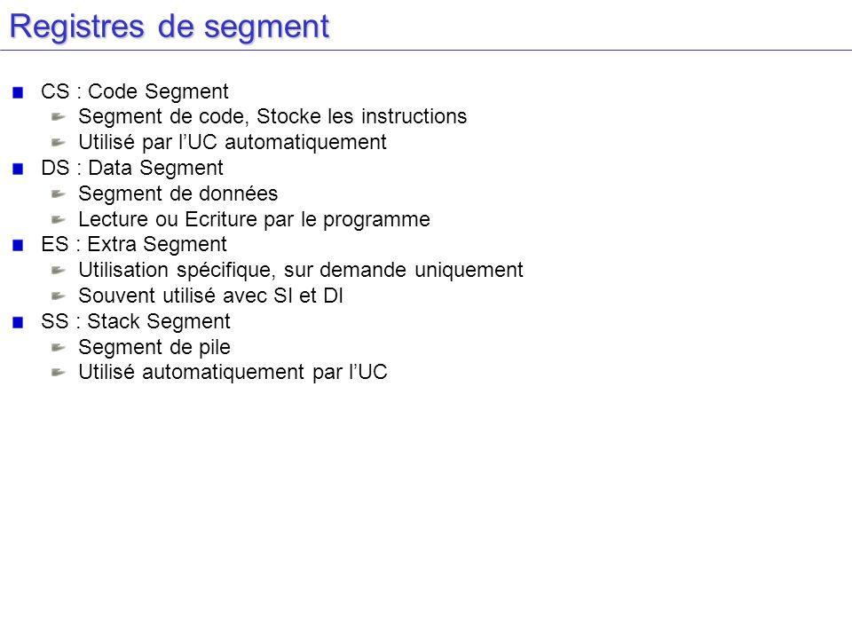 Registres de segment CS : Code Segment Segment de code, Stocke les instructions Utilisé par lUC automatiquement DS : Data Segment Segment de données L