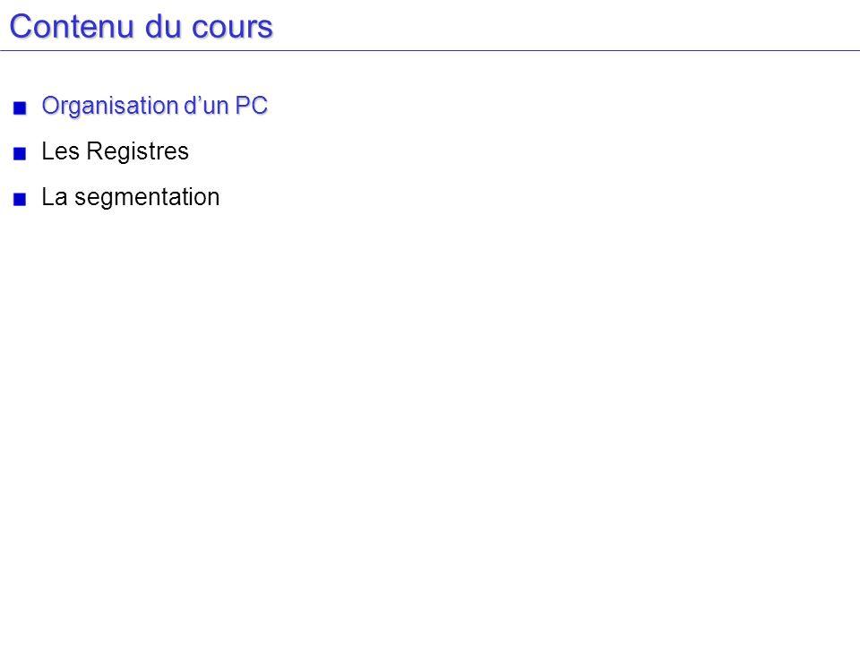 Contenu du cours Organisation dun PC Les Registres La segmentation